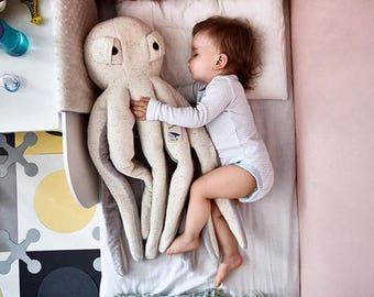 big white/gray octopus stuffed toy, stuffed animal, handmade toy, toys, eco friendly toy, stuffed octopus, gift, octopus