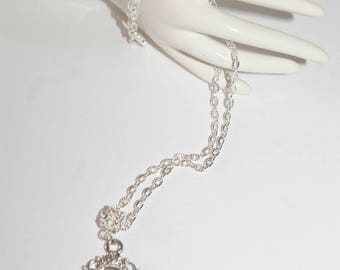 pretty Butterfly under glass cabachon Medallion necklace