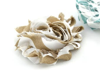 Fabric beige and white striped 6cm, sew or paste flower