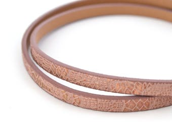 20cm flat old rose gold cord faux leather reptile skin effect 5mm