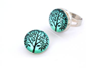 Snap chunk tree turquoise18 mm cabochon