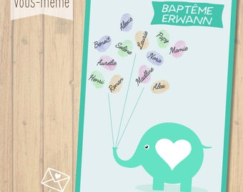 Poster prints, elephant, personalized baptism {to print yourself}