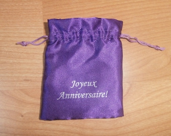 "Satin pouch purple ""Happy birthday"""