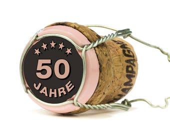 Invitation to the 50th birthday: Champagne Cork