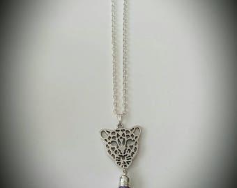 Leopard purple tassel necklace
