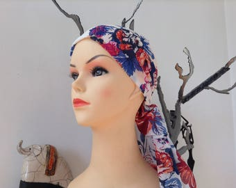 COLORFUL FLORAL WHITE COTTON SCARF TURBAN