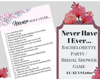 Never Have I Ever Bachelorette Party Game, Printable Bachelorette Game, Bridal Shower Game, Hens Night Game