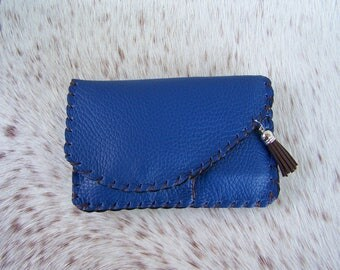 Handcrafted tobacco Brown and blue leather grained ostrich handcrafted and original for men or women, simple