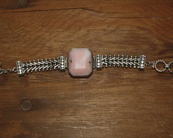 Heavy Sterling Silver and Facetted Pink Opal Bracelet