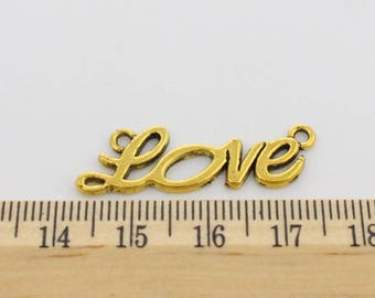 5 Love Connector Charms -  Beautiful Cursvie Style Charms - EF00121