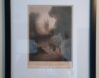 "Original Antique 1870's Print of ""Adam and Eve Driven out of Eden"""