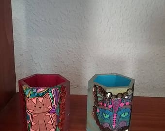 Wooden painted pen holders x 2