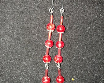 128. Long Red Dangling Earrings