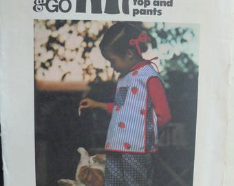 Children's Top and Pants Pattern - Vintage Butterick 4319 - Size 3