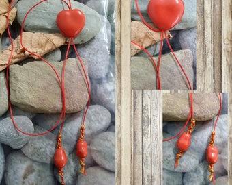 Red enameled heart pendant