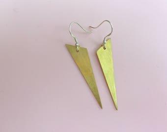 Geometric brass earrings, long earrings, triangle shape, gift for her,