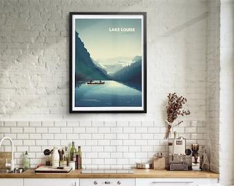 Lake Louise Skyline Illustration Print, Poster, Art, Wall Art, Typography