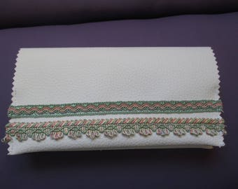 checkbook leather white and green and pink stripes, Valentines Day gift idea
