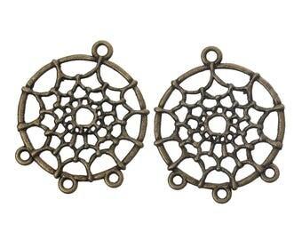 x 2 connectors 28 mm pendants dream catcher bronze.