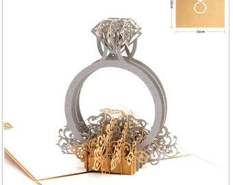 Handmade origami paper craft 3D popup pop up engagement ring Valentine's day marriage proposal wedding cards gift for her love gold silver