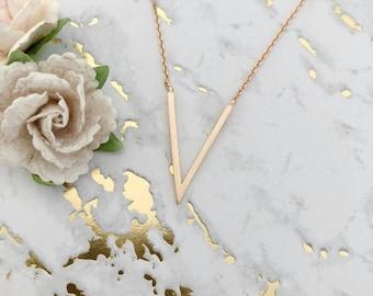 Rose Gold V Dainty Necklace