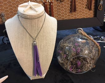 Purple swede tassel necklace