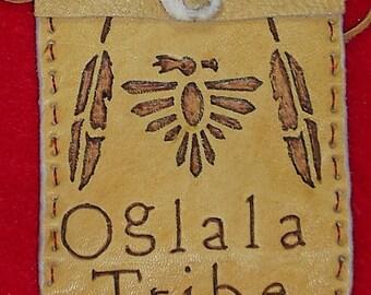Native American Buckskin Leather Medicine Bag W/ Burned Oglala Tribe & Thunderbird, Feathers