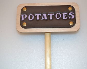 Potatoes Leather and Wood Garden row marker