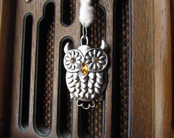 Owl Necklace, Silver Owl, Crochet Necklace