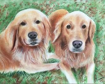 12x16 color, two pet pastel portrait