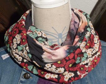 F269 snood scarf tissue fluid flower prints and black with large flowers