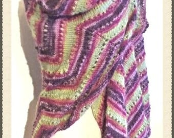 Hand knitted shawl Butterfly Dream Angora and acrylic