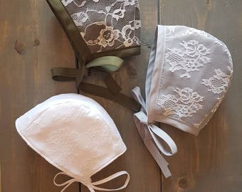 Lace Fall Bonnet **NEW COLOURS ADDED** / Vintage Bonnet / Baby / Toddler