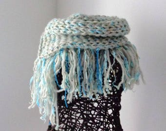 Grey wool fringed scarf