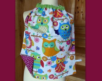 Lirge girly, colorful owls cotton