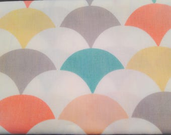 Waves cotton coral, mint, yellow, gray