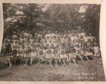 "Vintage black and white camp photograph ""Camp Mench Mill"" June 1966"