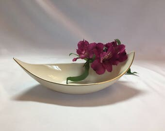 Lenox Cresent Collection Nut Dish Candy Dish cream with gold trim - Mid century decor