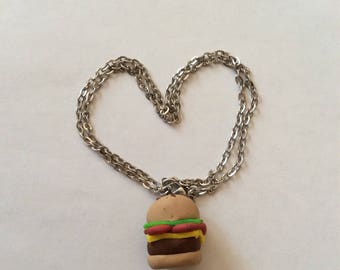 Hamburger charm necklace, polymer clay necklace