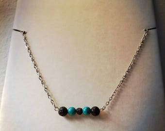 Lava Rock Necklace Diffuser, Turquoise Bar