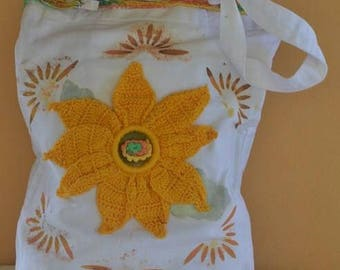 Hand painted cotton bag and embellished with sunflower worked on crochet