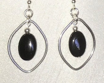 Sterling and Onyx handcrafted earring