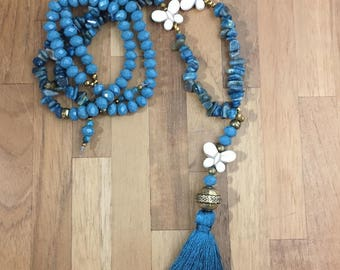 Butterflies and gemstone tassel necklace.