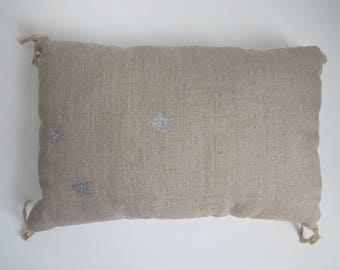 Trendy linen and cotton polka dot pillow