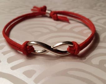 Red Leather Infinity Symbol Bracelet