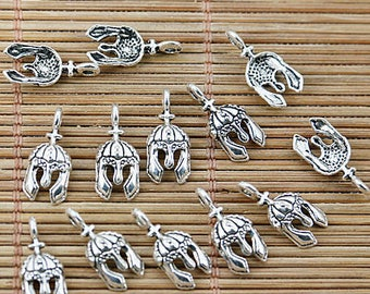 8 small charms silver metal Gladiator helmet