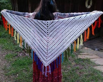 Rainbow Crochet Shawl