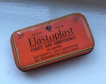 British made, Elastoplast, band aid, plaster, medical, bandage, vintage tin, circa 1950s