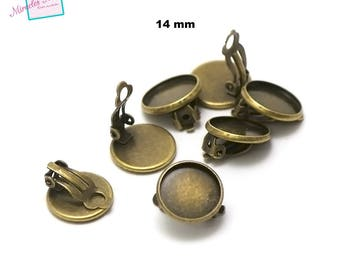 """4 """"round 14 mm"""" cabochon clip earring, bronze"""