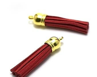 4 tassels long suede 57 X 12 mm, red, Golden Bell